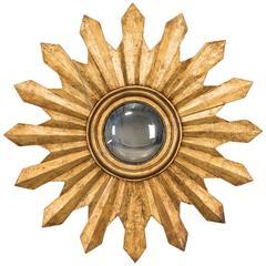 Antique Italian Starburst Convex Gold Leaf Mirror, circa 1880