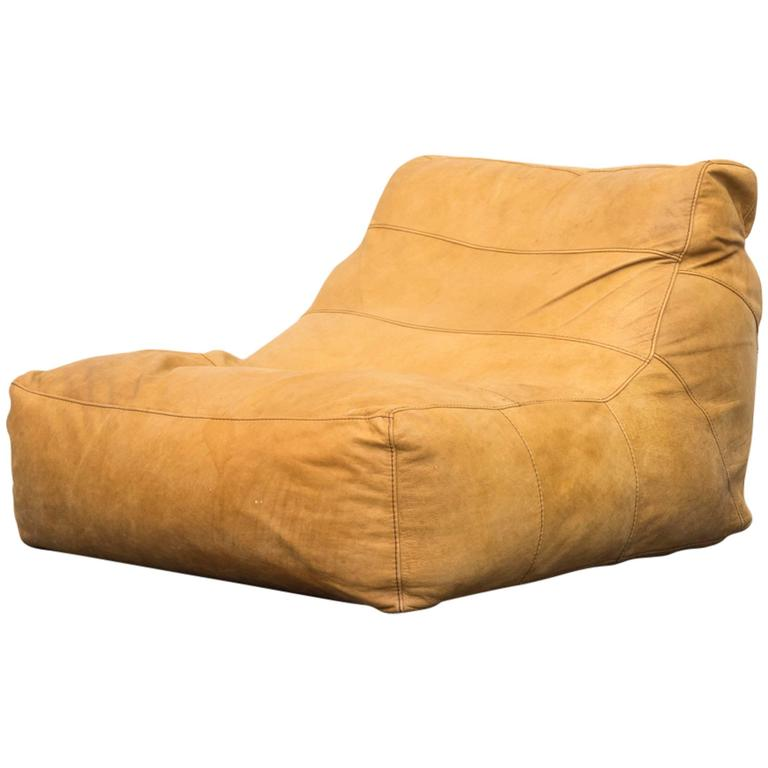 De Sede Style Leather Bean Bag Chair For