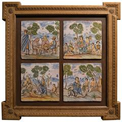 Set of Four Antique 19th Century Hand-Painted Tiles in Wooden Frame