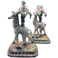 Giraffe and Monkey Candlestick Holders, a Pair, Ceramic by Ardmore from Sout