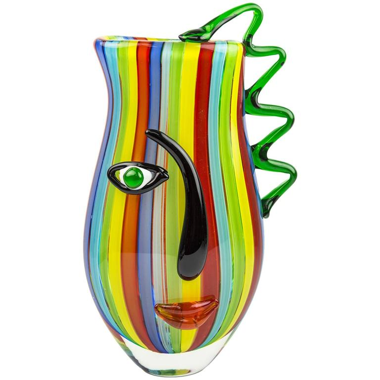 Large Multi Sommerso a Canne Art Glass Face Vase