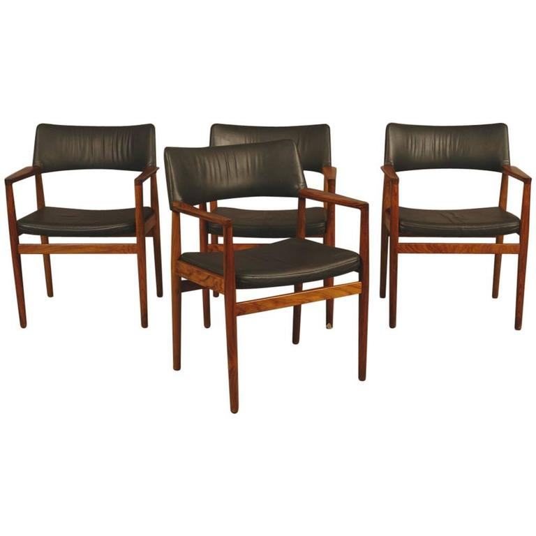 Set of Four Danish Rosewood and Leather 1960s Armchairs