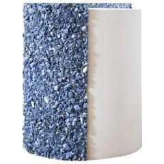 Hand Made Blue Sodalite and White Plaster Drum, Side Table by Samuel Amoia