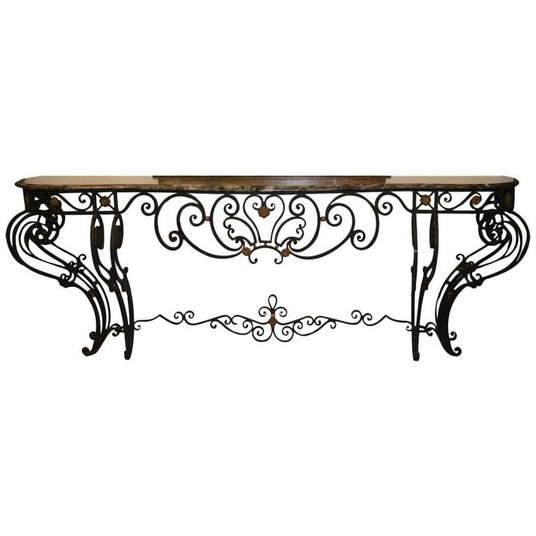 louis xv style wrought iron console table with marble top 1