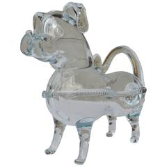 Holmegaard Handblown Clear Glass Dog Decanter or Gin Pig