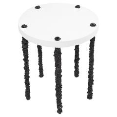 Hand Made Side Table of Black Tourmaline and White Plaster, by Samuel Amoia