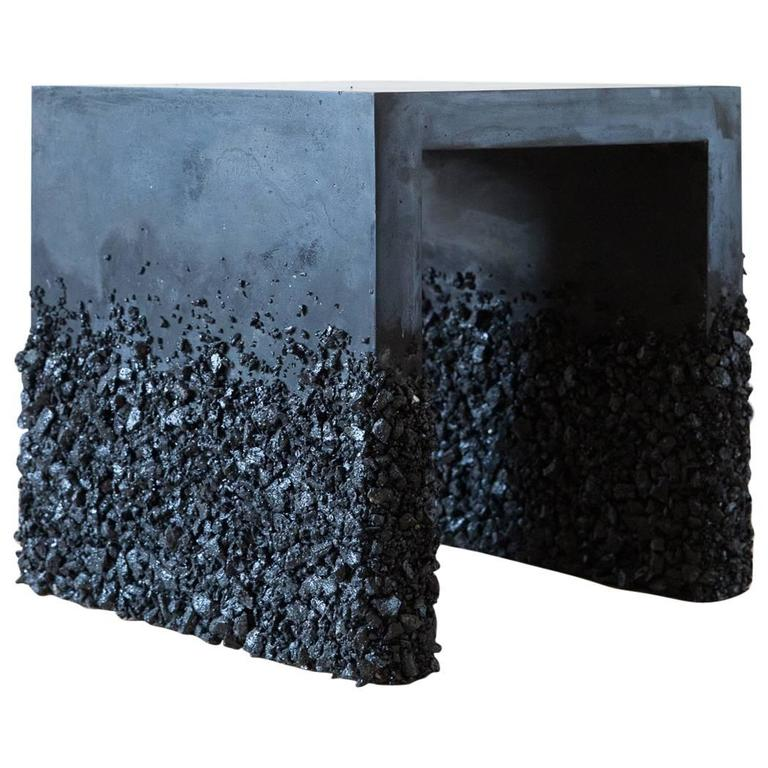 Hand Made Side Table of Black Tourmaline and Black Plaster, by Samuel Amoia For Sale