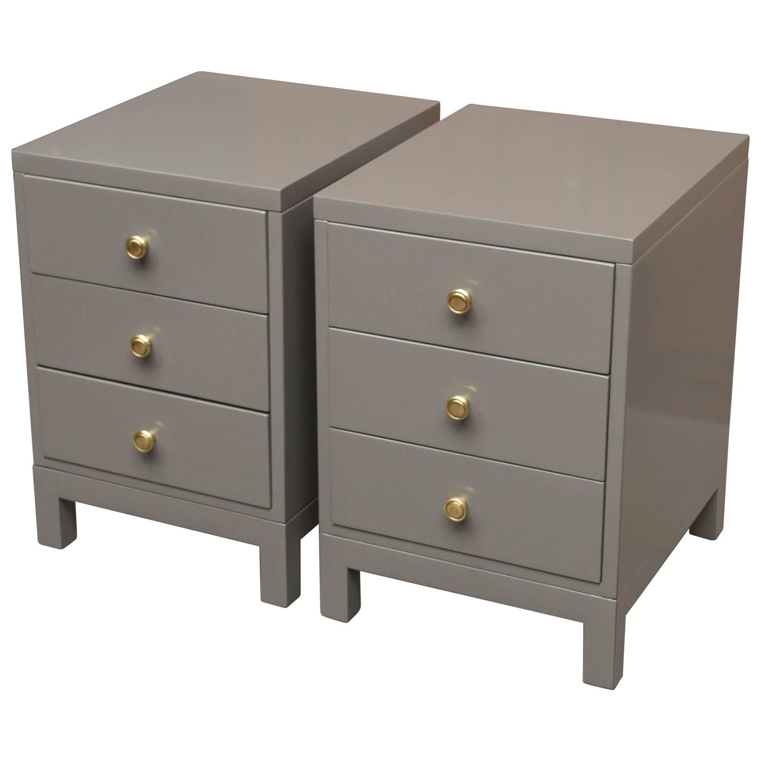 Widdicomb Grey Lacquer Nightstands At 1stdibs