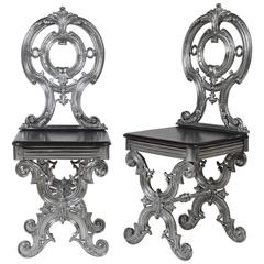 Pair of Iron Hall Chairs