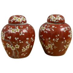 Pair of Japanese Covered Urns