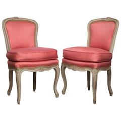 Pair of Louis XV Style Painted Side Chairs by Jansen