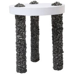 Hand Made Three-Leg Side Table of Pyrite and White Plaster, by Samuel Amoia
