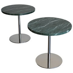 Pair of Marble and Stainless Steel Side Tables by Gerald R. Griffith Studio