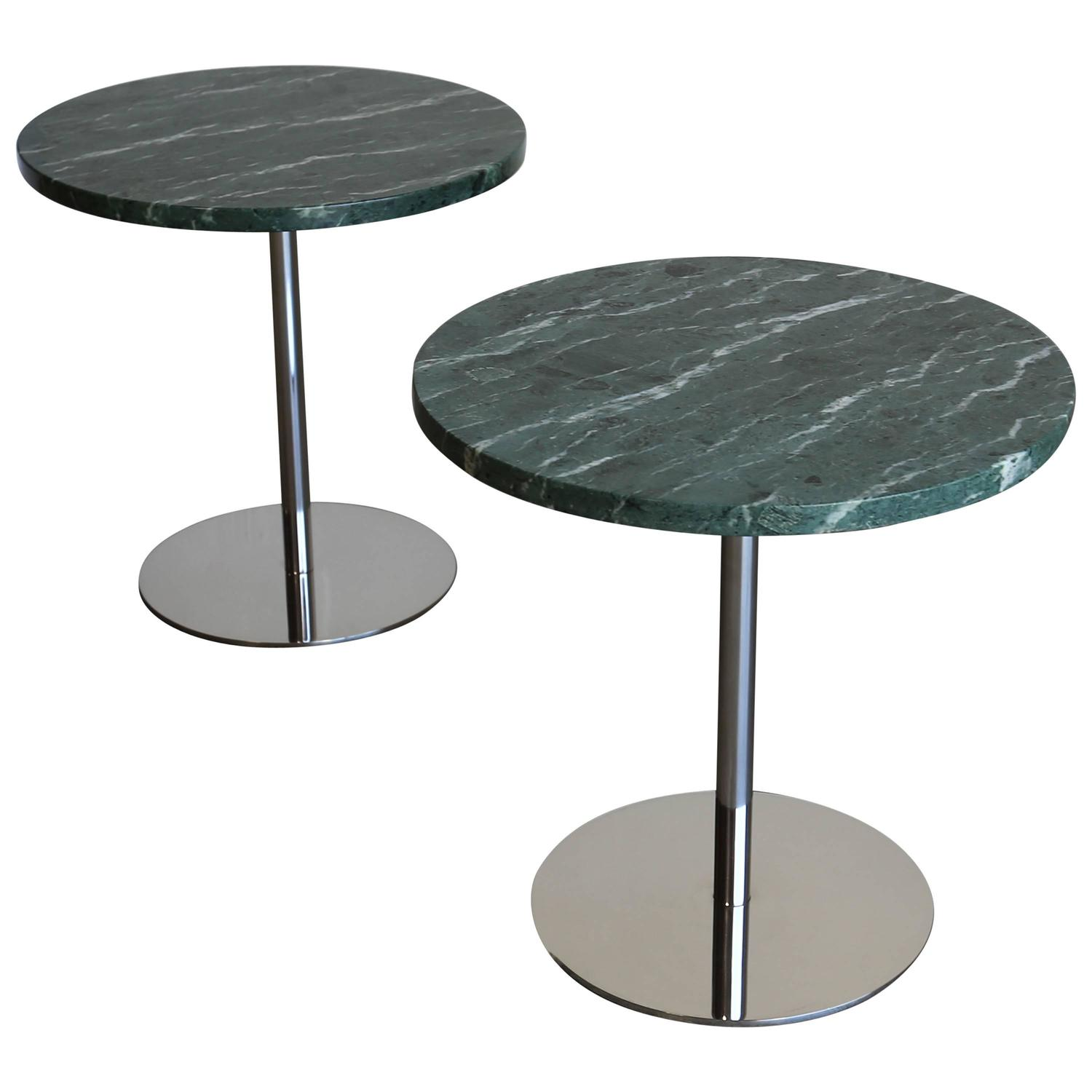 Pair Of Marble And Stainless Steel Side Tables By Gerald R