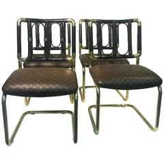 Luxurious Set of Four Brass Italian Chairs Upholstered in Louis Vuitton Leather