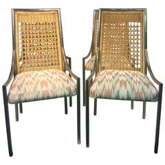 Elegant Set of Four Rattan High Back Chairs in the Manner of Mastercraft