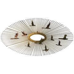 Beautiful Curtis Jere Mixed-Metal Starburst Wall-Mounted Sculpture with Birds