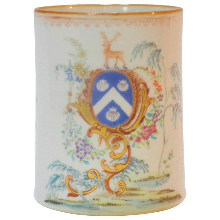 Rococo Chinese Export St. James Armorial Tankard For Sale
