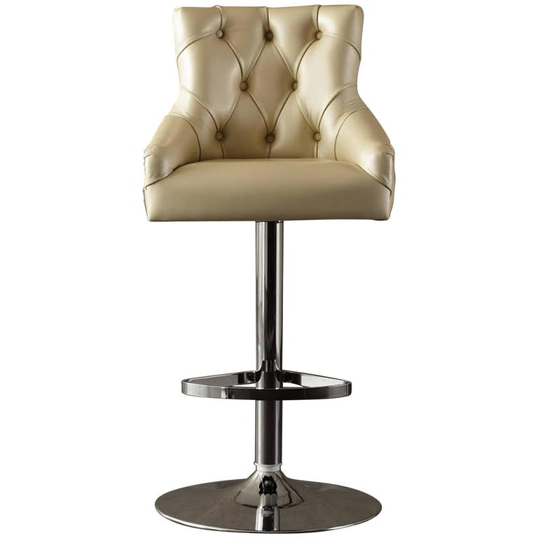 Catana Bar Stool in Polished Steel with Leather seat  For Sale