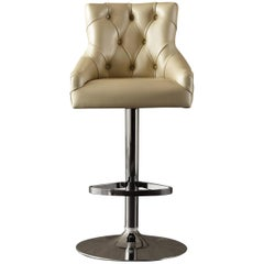 Catana Bar Stool in Polished Steel with Leather seat
