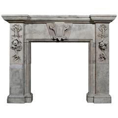 Large 19th Century Italian Limestone Fireplace