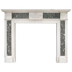George III Style English Statuary Marble Fireplace with Inlaid Tinos Marble