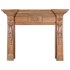 19th Century English Oak Fireplace with Carved Mask to Centre