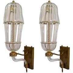 Pair of 1940s Venetian Murano Wall Lights
