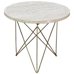 Brancusi Brass-Plated Rod Marble Side Table