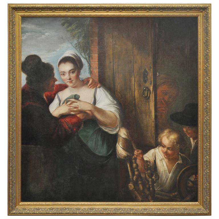 Peasant Girl at a Window Flemish 17th Century Oil Painting For Sale