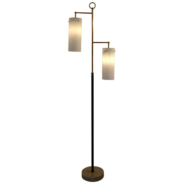 Italian floor lamp with opal glass lantern shape shades at for Glass lantern floor lamp