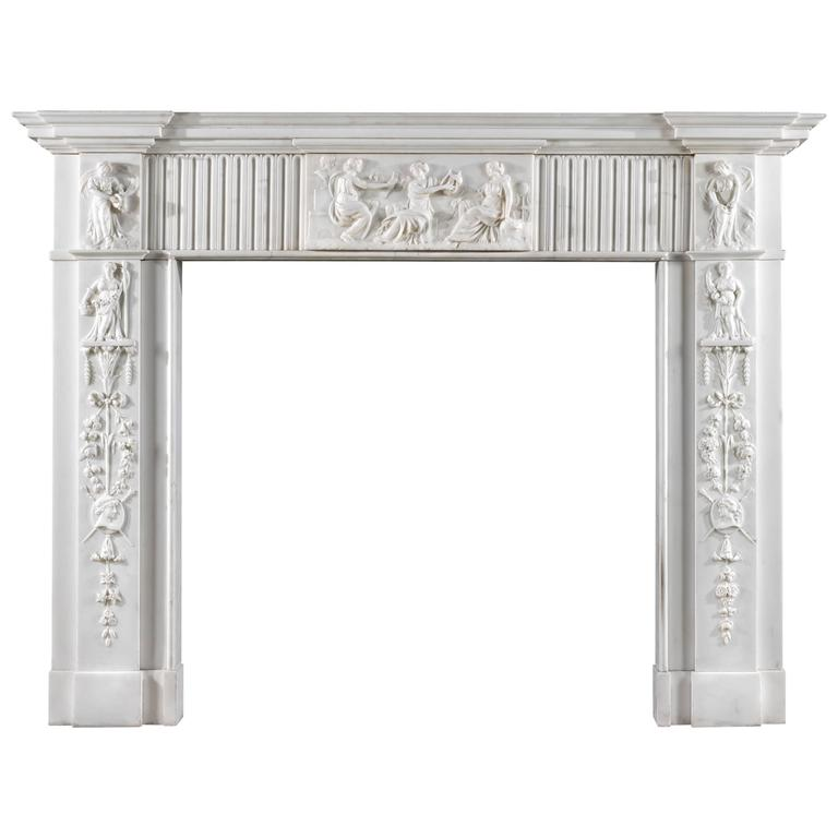 Georgian Statuary Marble Antique Fireplace Mantel