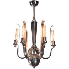 Paolo Buffa for Donzelli, Rare Italian 6 Light Silvered Bronze Chandelier