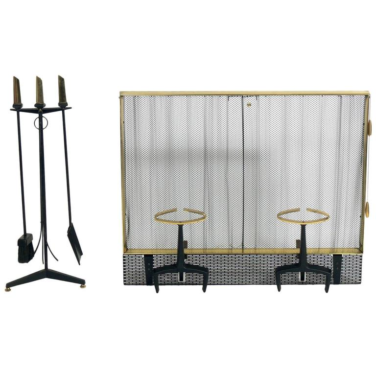 Modernist Brass and Iron Andirons Fire Tools and Screen by Donald Deskey For Sale