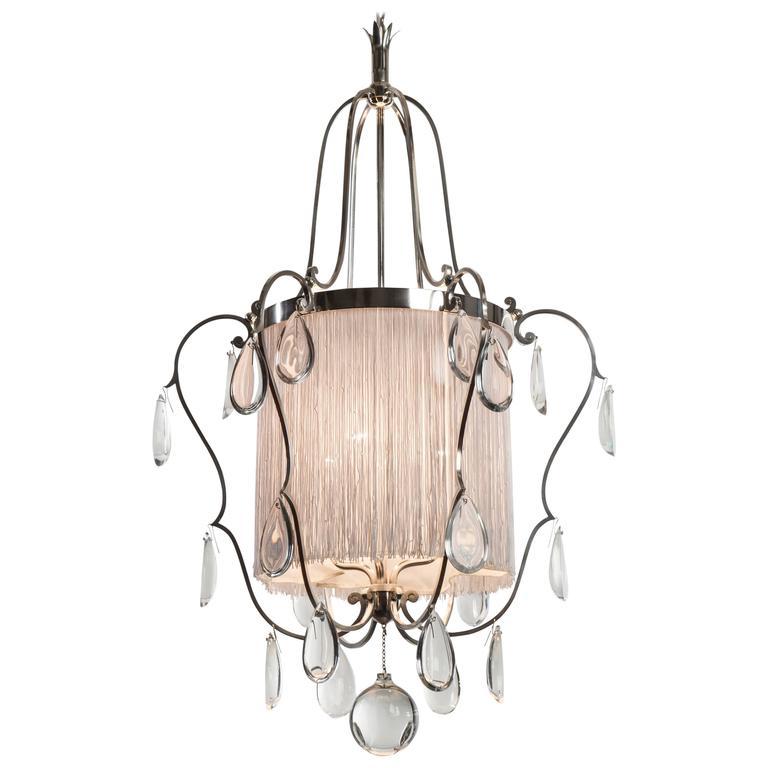 Elis Bergh, Swedish Silvered Brass, Silk and Glass Chandelier / Lantern