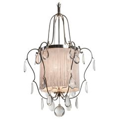 Elis Bergh, Swedish Silvered Brass, Silk and Glass Chandelier / Lantern