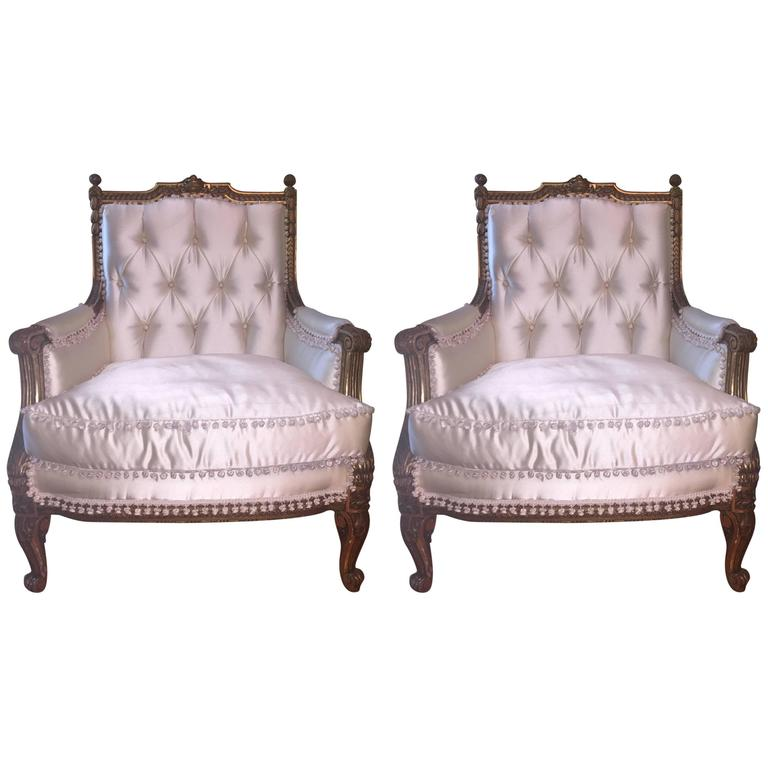 Pair of Louis XVI Style Giltwood Bergere Chairs