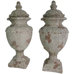 Pair of Painted Neoclassical Terracotta Urns