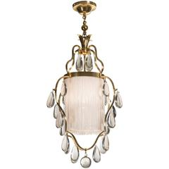 Elis Bergh, Swedish Brass, Silk and Glass Chandelier / Lantern