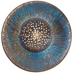 Sejer Keramikfabrik, Rare and Large Danish Stoneware Blue Glazed Sconce