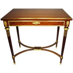 Fine French 19th Century Louis XVI Style Mahogany and Ormolu-Mounted Side Table