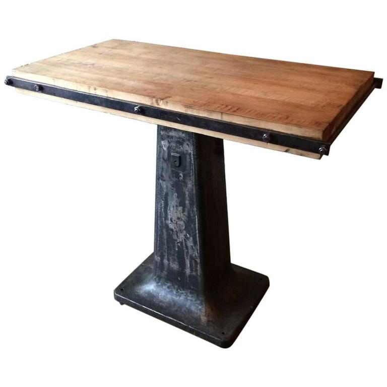 Charmant Custom Industrial Butcher Block And Cast Iron Pedestal Console For Sale