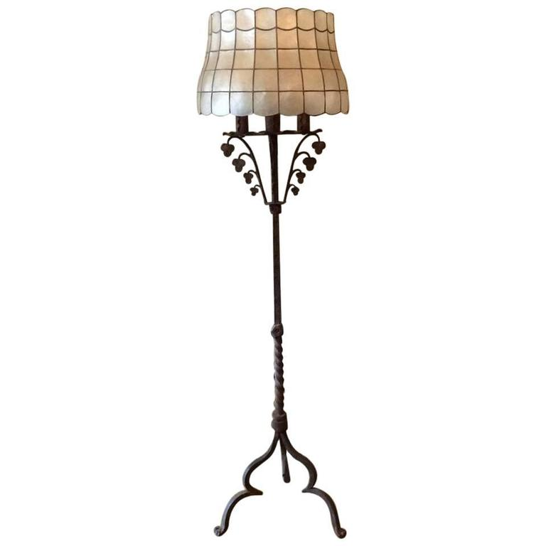 Early 20th Century Gothic Wrought Iron Floor Lamp In The Style Of Samuel  Yellin For Sale
