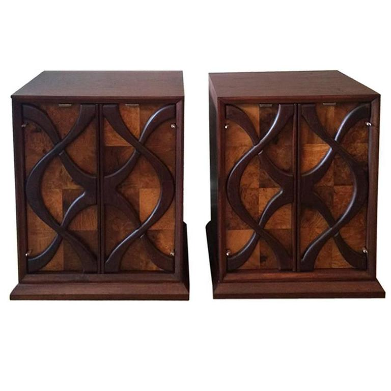 Impressive Hollywood Regency Raised Decorative Panel Nightstands