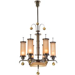 Swedish Grace Period 6 Light Glass and Patinated Brass Chandelier