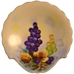 Lefton Hand-Painted Grape Dish with Scalloped Edge