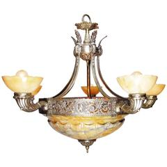 Italian Early 20th Century Art Deco Silvered Bronze and Alabaster Chandelier