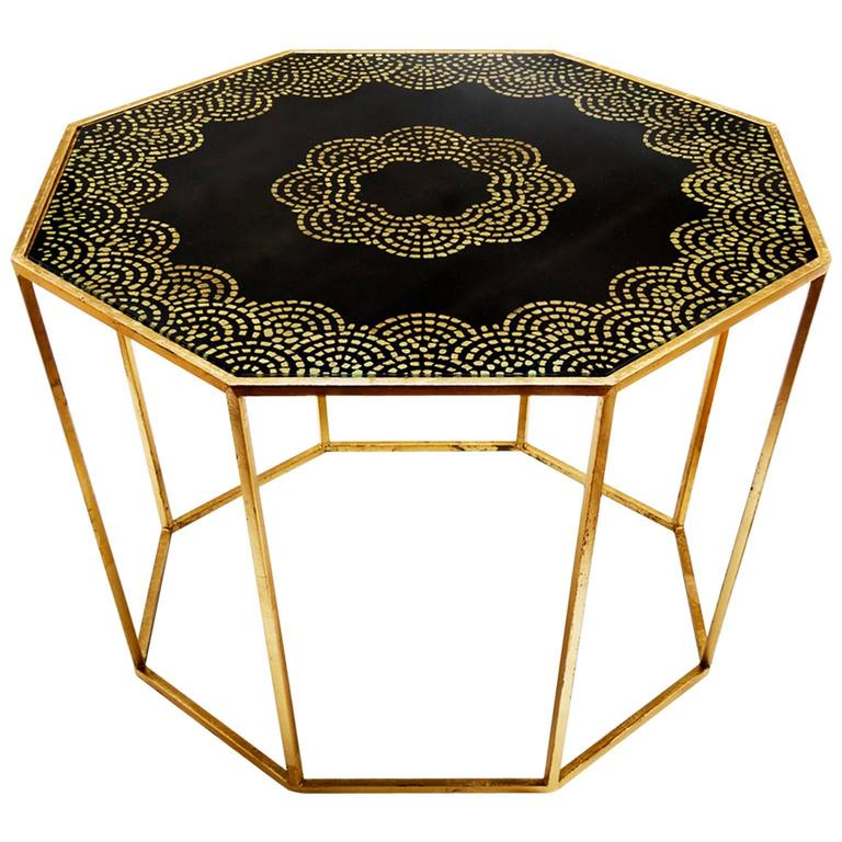 Hand Painted Gold Leaf Octagonal Table For Sale At 1stdibs