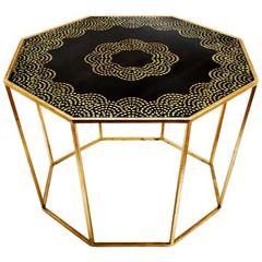 Hand-Painted Gold Leaf Octagonal Table