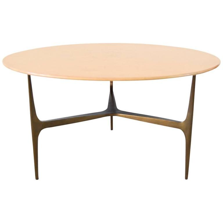 Burl Coffee Table Legs: Burl Wood And Brass Tri-Leg Coffee Table At 1stdibs